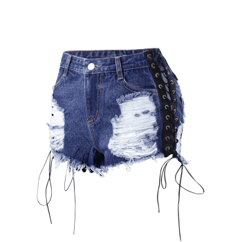 Lace Up Frayed Distressed Denim Shorts - DENIM BLUE L