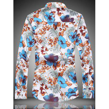Floral Printed Button Up Long Sleeve Shirt - BLUE BLUE