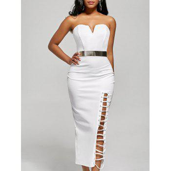 Strapless Lace-up Slit Bodycon Dress