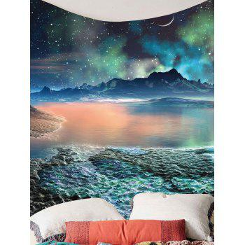 Moon Star Lake Mountain Wall Art Tapestry - COLORFUL W79 INCH * L71 INCH