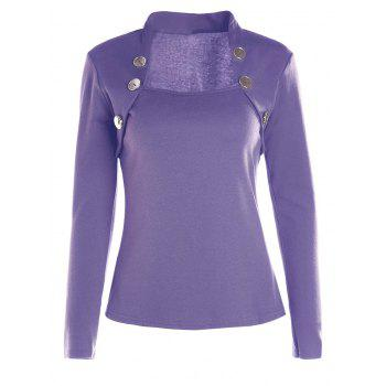 Charming Buttoned Bodycon Long Sleeve Pure Color T-Shirt For Women