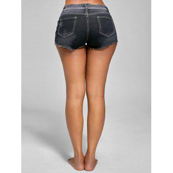 Dark Distressed Wash Mini Denim Shorts - BLACK BLACK