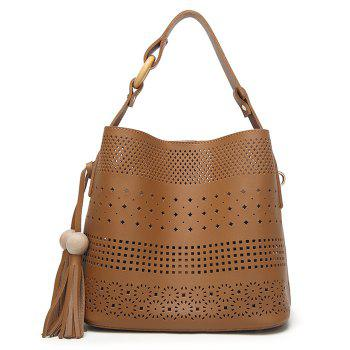 Hollow Out Tassel Tote Bag - BROWN BROWN
