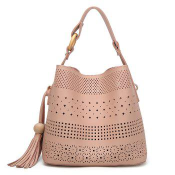 Hollow Out Tassel Tote Bag - PINK PINK