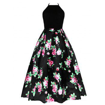 Vintage Back Cutout Halter Floral Dress