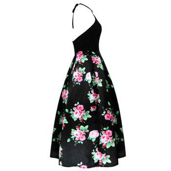 Vintage Back Cutout Halter Floral Dress - BLACK M