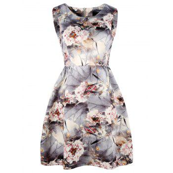 Floral Print Sleeveless Mini A Line Dress - FLORAL FLORAL