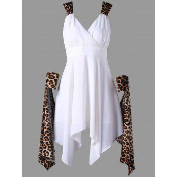Cuffed Leopard Cape Handkerchief Dress - WHITE XL