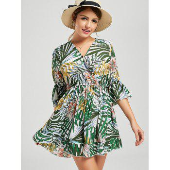 V Neck Tropical Print Surplice Romper - multicolor L