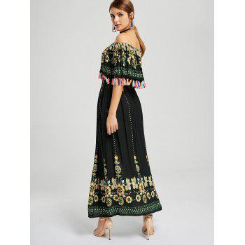Tassel Off The Shoulder Boho Maxi Dress - BLACK BLACK