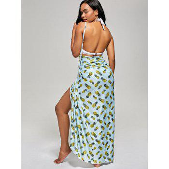 Pineapple Wrap Cami Cover Up Dress - LIGHT BLUE S