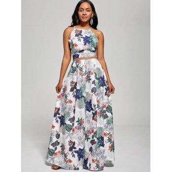 Printed Backless Crop Top and Slit Maxi Skirt - WHITE M
