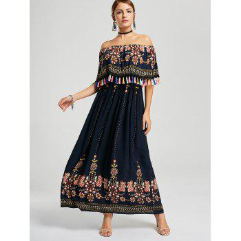 Tassel Off The Shoulder Boho Maxi Dress - PURPLISH BLUE S