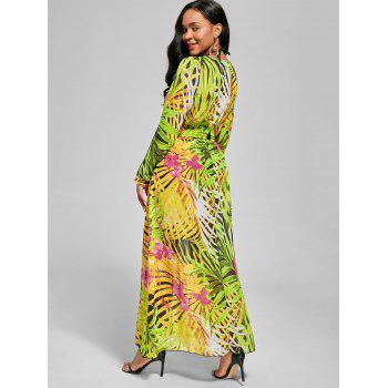 Chiffon Long Sleeve Maxi Flowy Dress - GREEN M