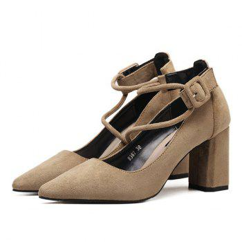 Suede Point Toe Chunky Heel Pumps - APRICOT 37