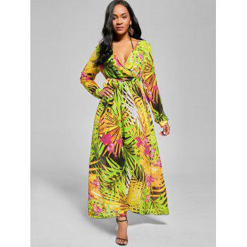 Chiffon Long Sleeve Maxi Flowy Dress - GREEN XL