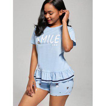Printed Flounce Cotton Pajamas Set - LIGHT BLUE L