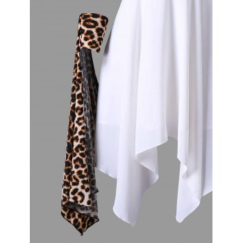 Cuffed Leopard Cape Handkerchief Dress - WHITE M