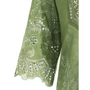 V Neck Embroidered Plus Size Blouse - APPLE GREEN 4XL