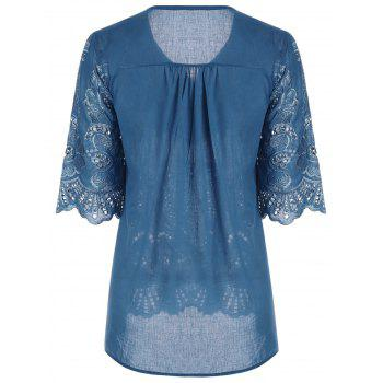 V Neck Embroidered Plus Size Blouse - PEACOCK BLUE 4XL