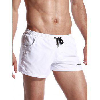 Drawstring Graphic Print Panel Short de sport - Blanc M