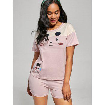Bear Print Pajamas T-shirt and Shorts - LIGHT PINK XL
