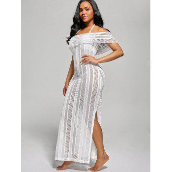 Off The Shoulder Mesh Cover Up Maxi Dress - WHITE M