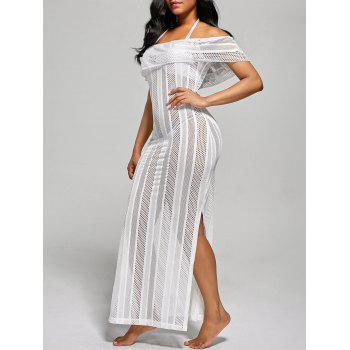 Off The Shoulder Mesh Cover Up Maxi Dress - WHITE WHITE