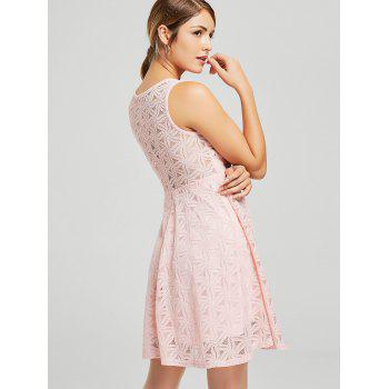 Sleeveless Lace Mini Cocktail Dress - PINK XL