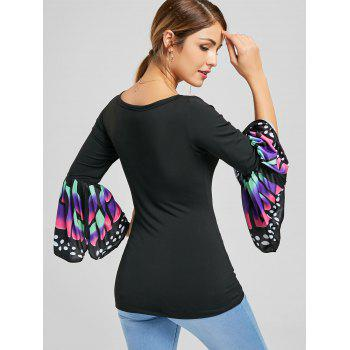 V Neck Butterfly Print Long Sleeve Top - BLACK M