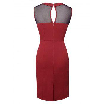 Sleeveless Mesh Panel Work Dress - RED XL