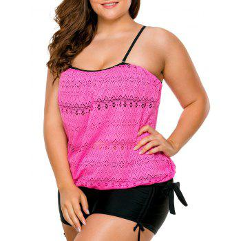 Plus Size Boyshorts Blouson Tankini Set - ROSE MADDER 2XL