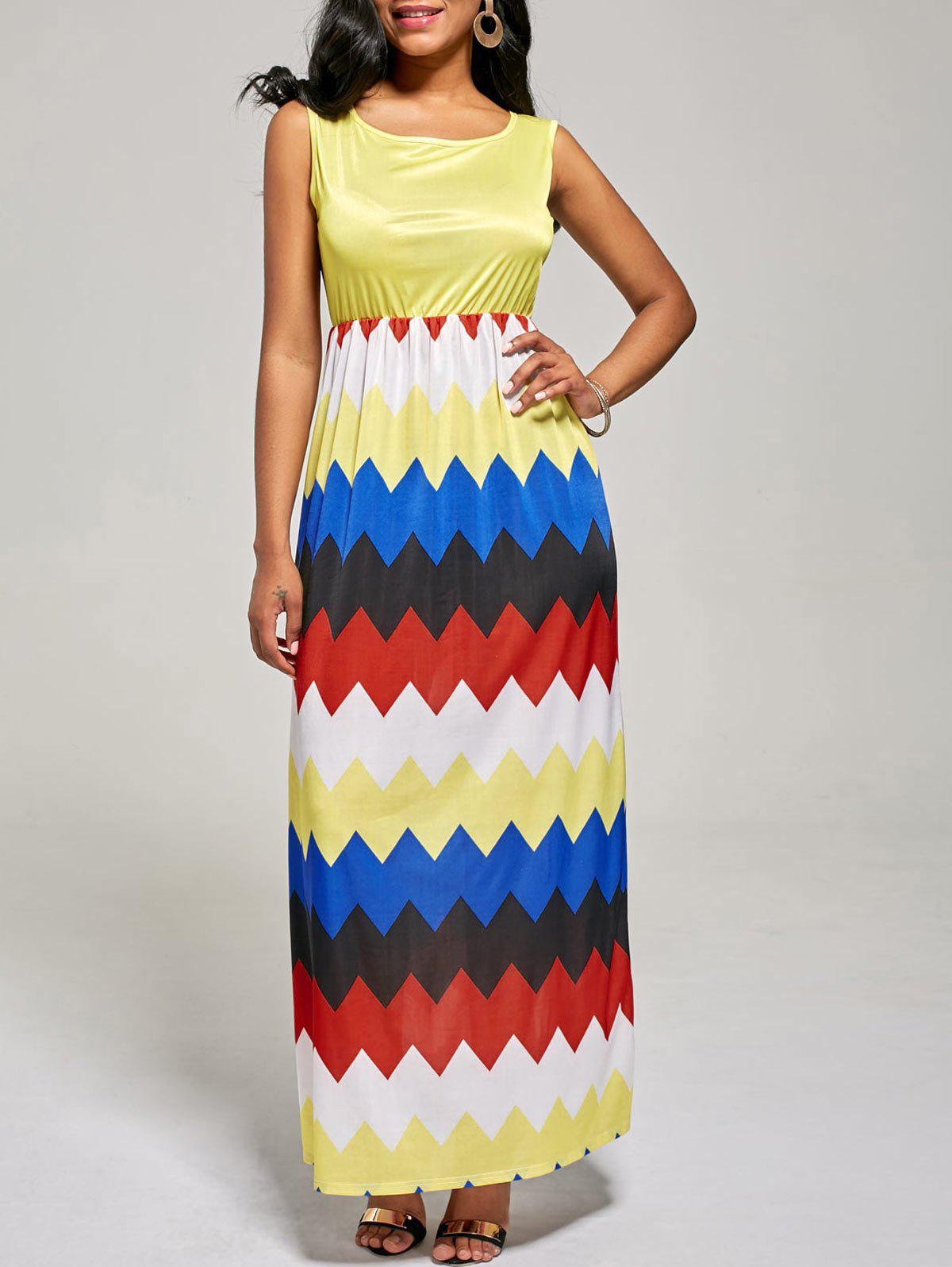 Sleeveless Zig Zag Color Block Long Dress - YELLOW S