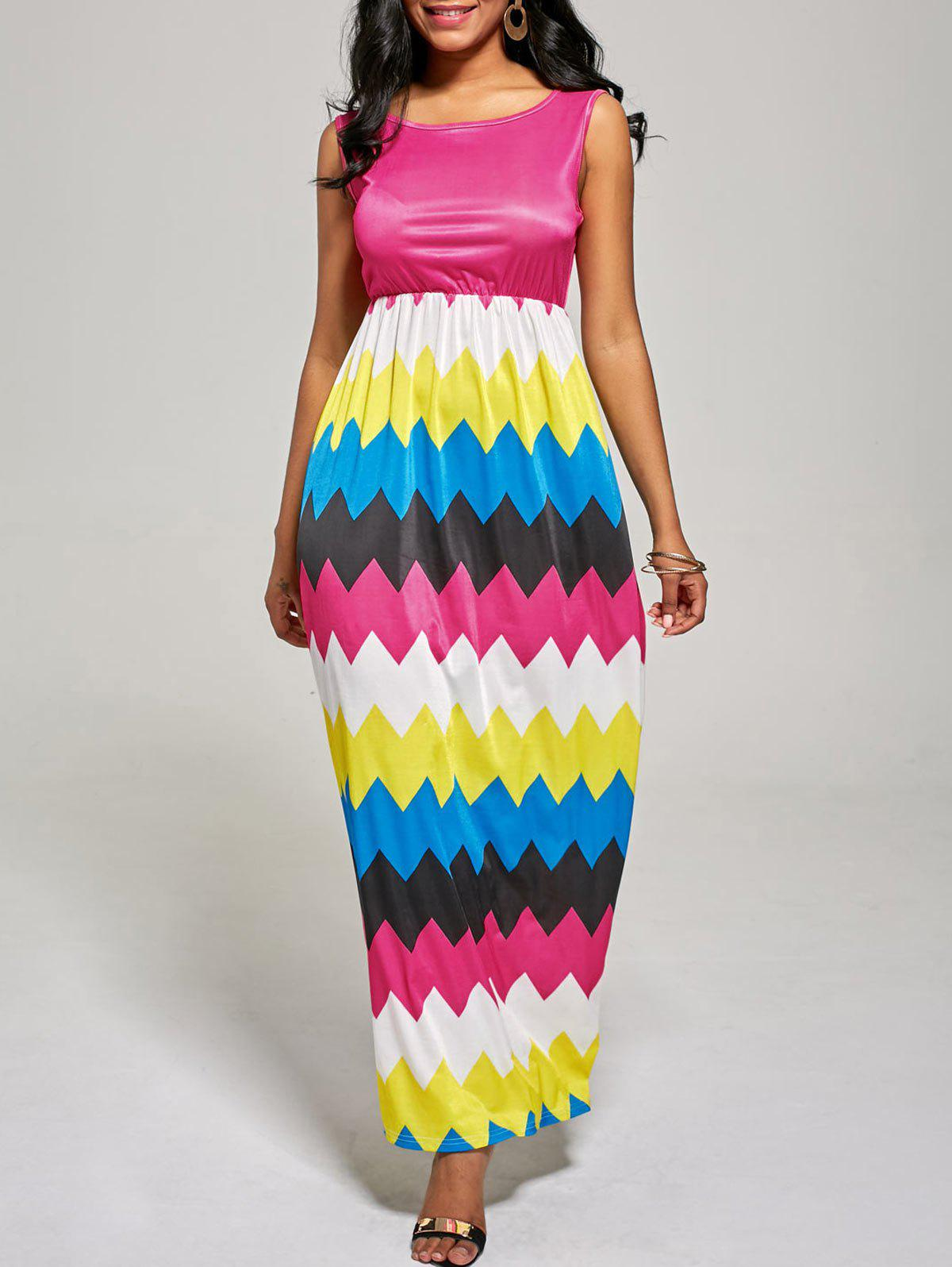 Sleeveless Zig Zag Color Block Long Dress - ROSE MADDER L