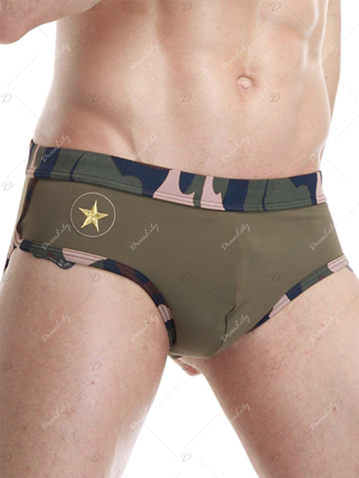 Star Embroidered Camouflage Panel Swimming Briefs - ARMY GREEN M