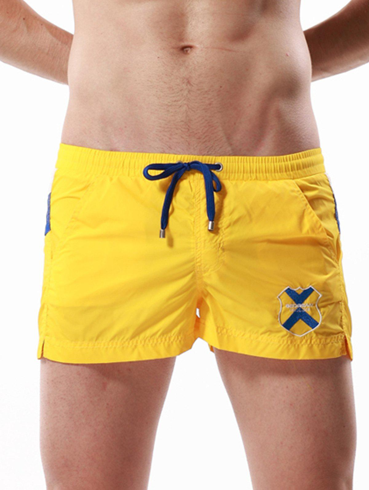 Badge bordé Drawstring Color Block Panel Shorts - Jaune L
