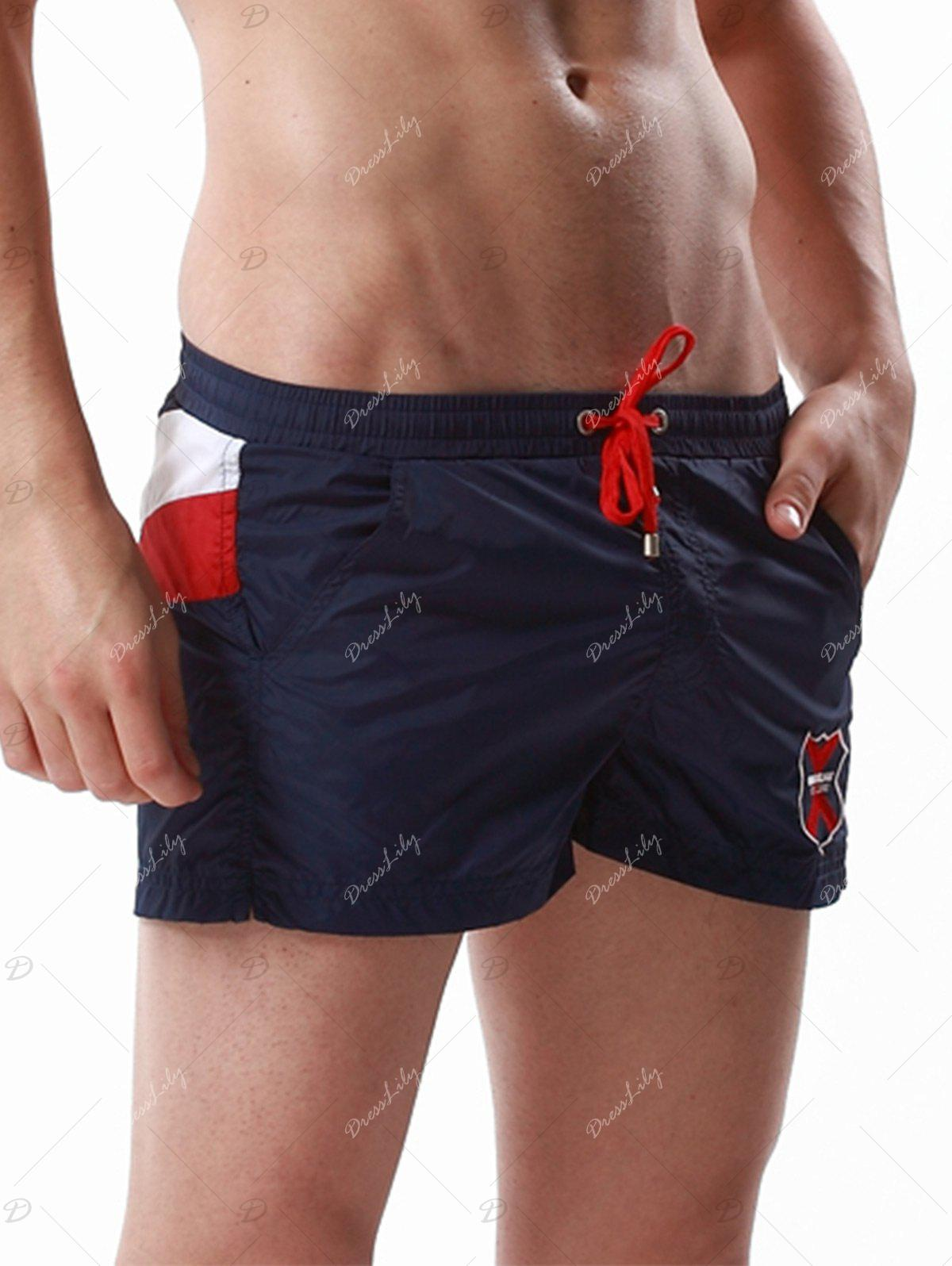 Badge Embroidered Drawstring Color Block Panel Shorts - CERULEAN XL