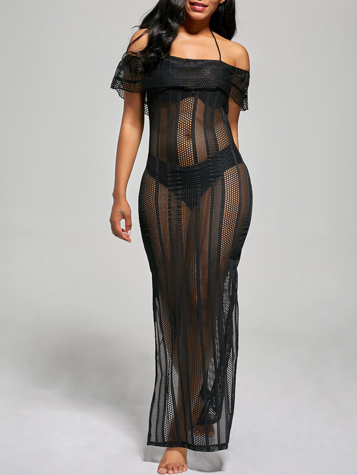 Off The Shoulder Mesh Cover Up Maxi Dress - BLACK L