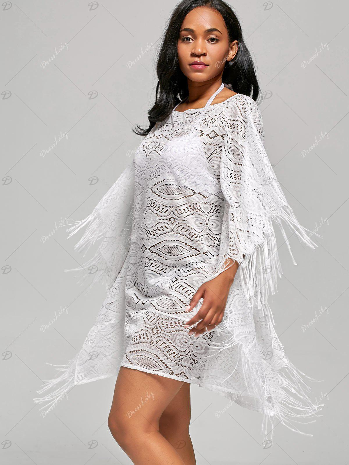 Fringed Cover Up Dress with Batwing Sleeve - WHITE S