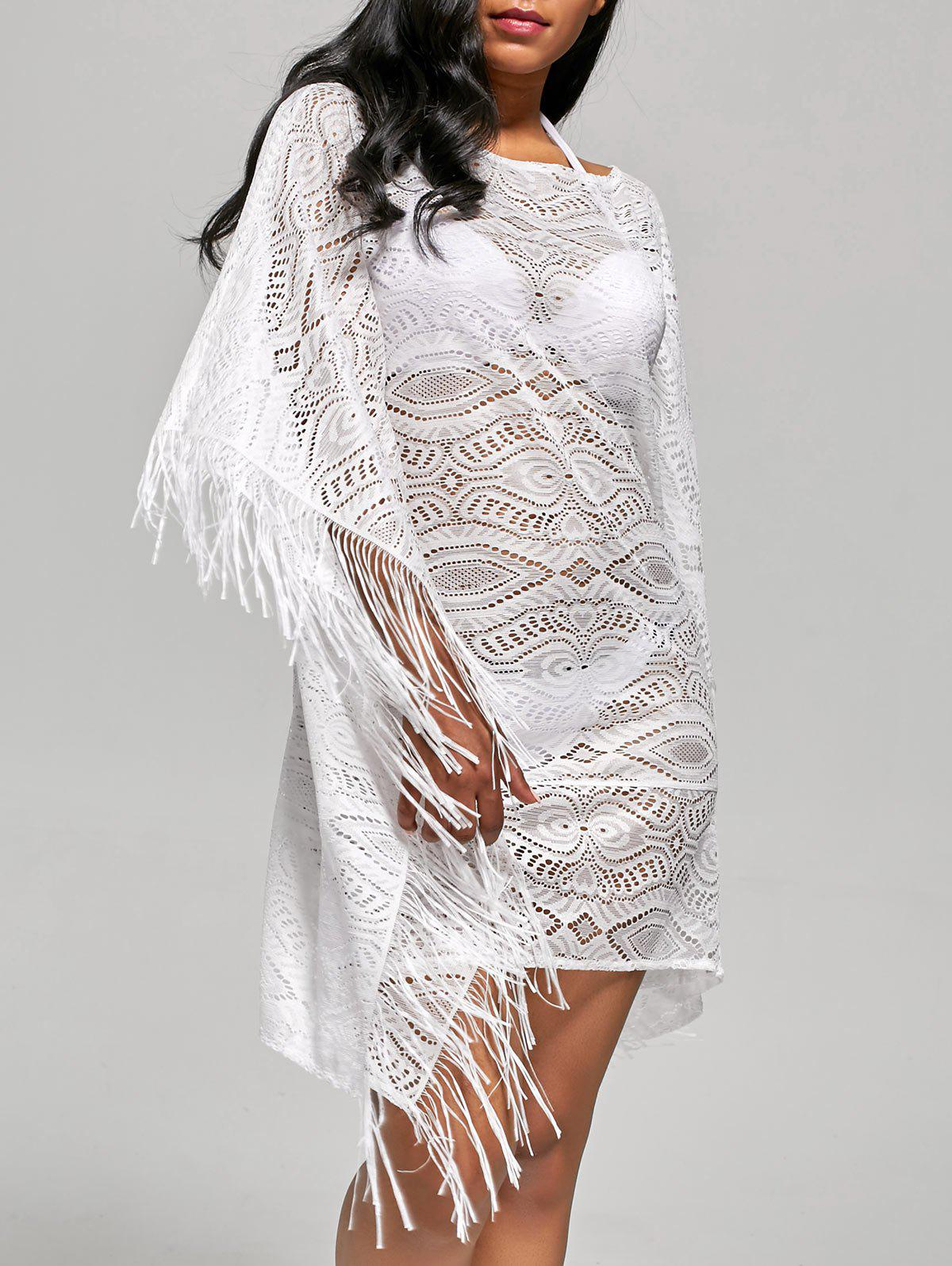 Fringed Cover Up Dress with Batwing Sleeve - WHITE XL
