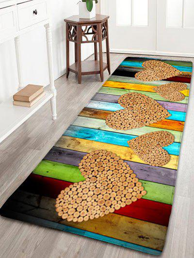 цена на Wood Grain Print Skidproof Flannel Heart Rug
