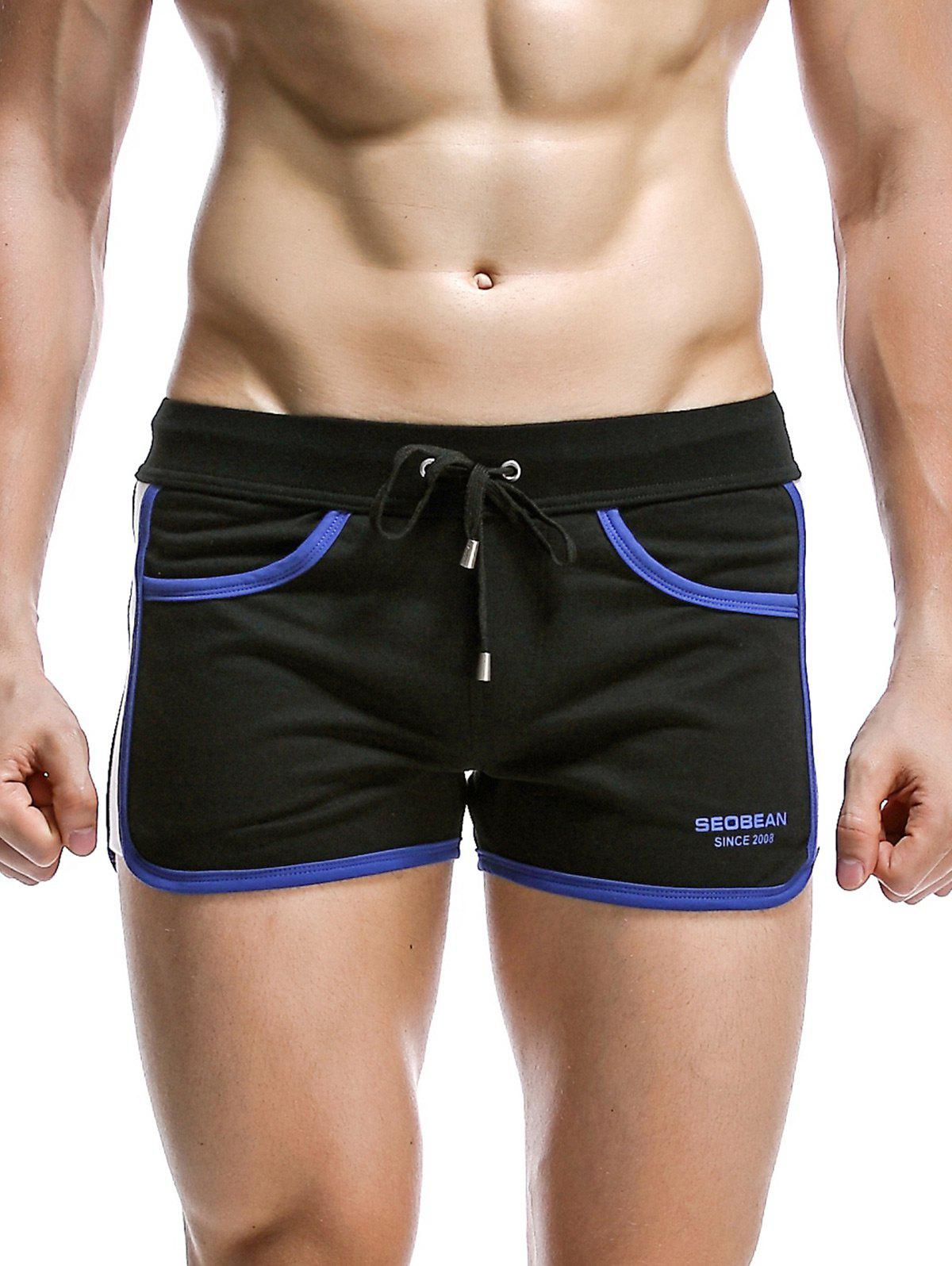 Drawstring Panel Design Graphic Print Accueil Shorts - Noir L