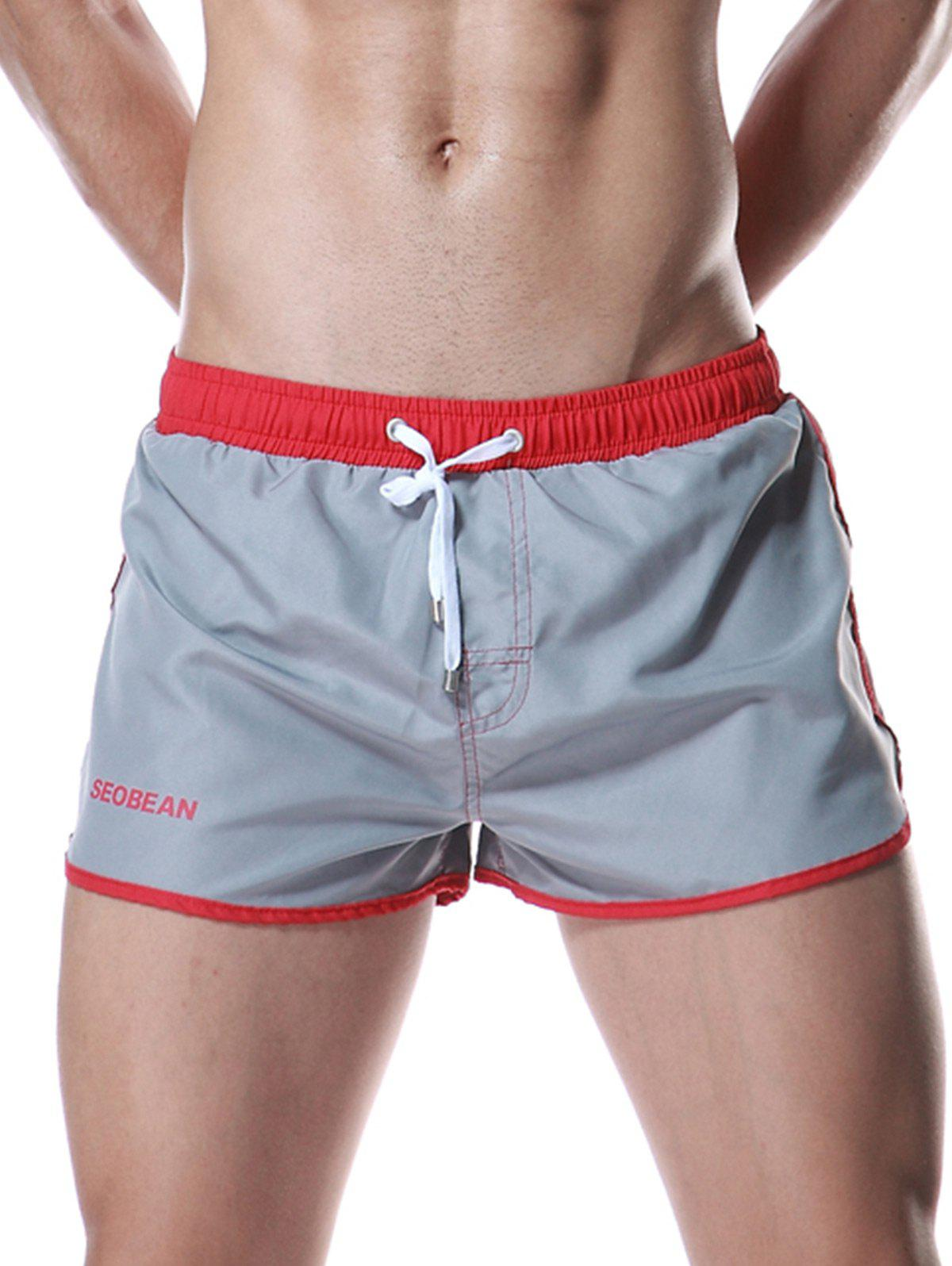 Drawstring Graphic Color Block Panel Sport Shorts - GRAY L
