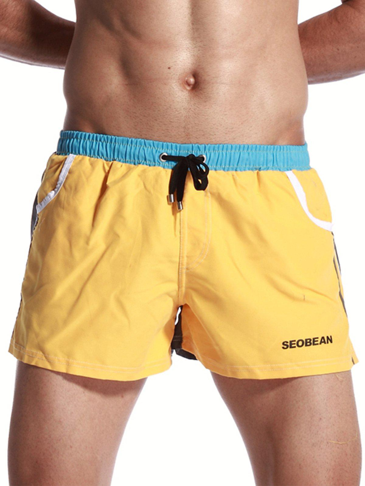 Drawstring Graphic Print Panel Short de sport - Jaune XL