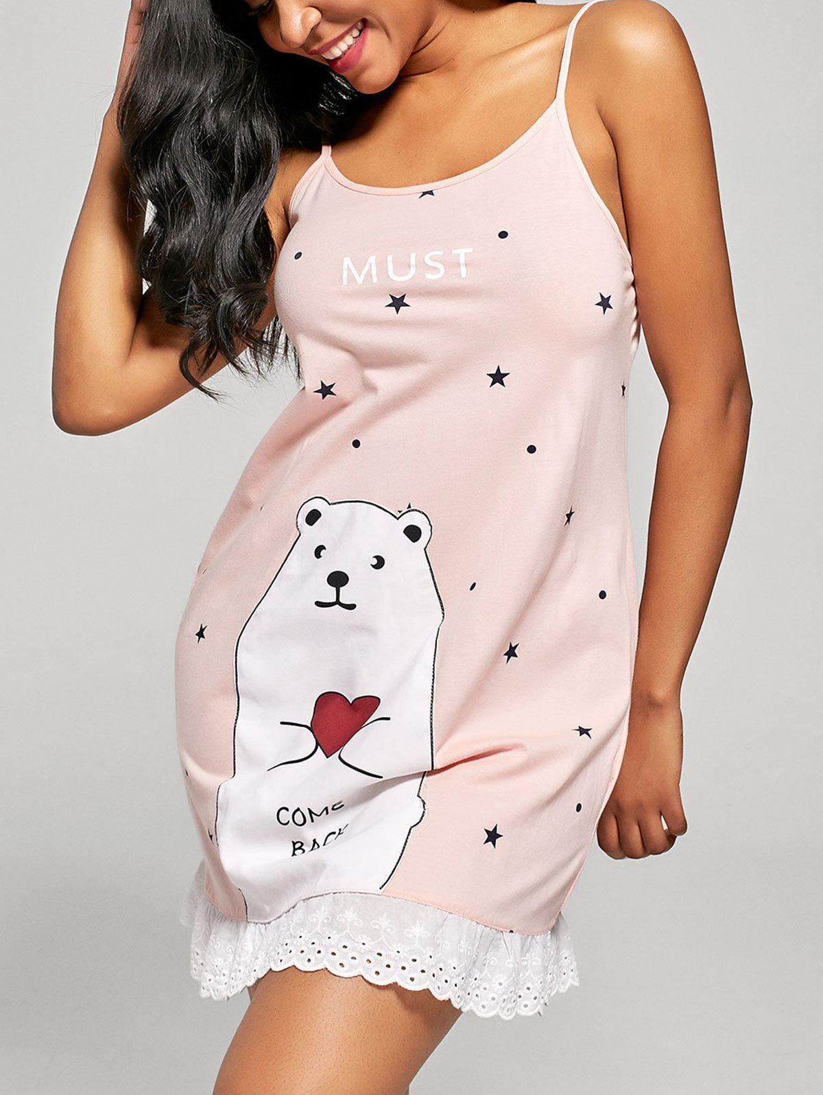 Bear and Stars Print Cami Sleep Dress - ORANGEPINK L