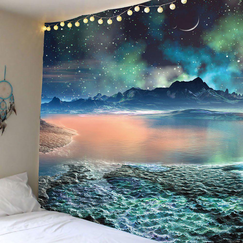 Moon Star Lake Mountain Wall Art Tapestry moon flac jeans