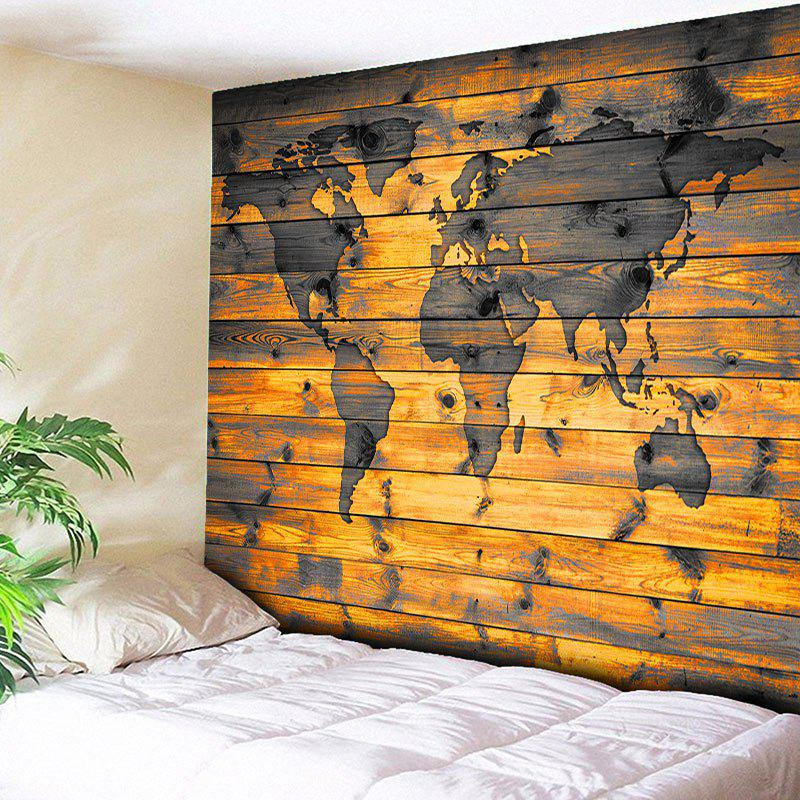 World Map Wall Hanging Wood Grain Print Tapestry