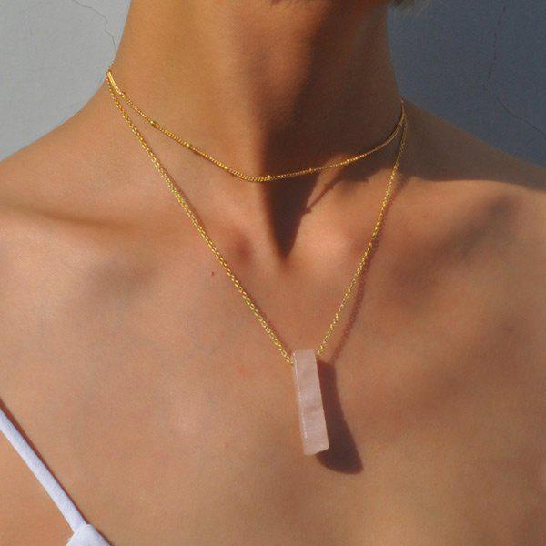 Natural Stone Collarbone Geometric Layered Necklace - PINK