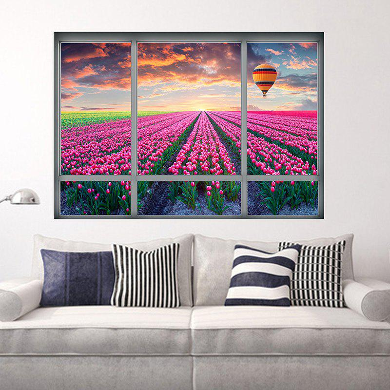 Tulip Scenic 3D Window Wall Sticker For Living Room - COLORMIX 48.5*68CM