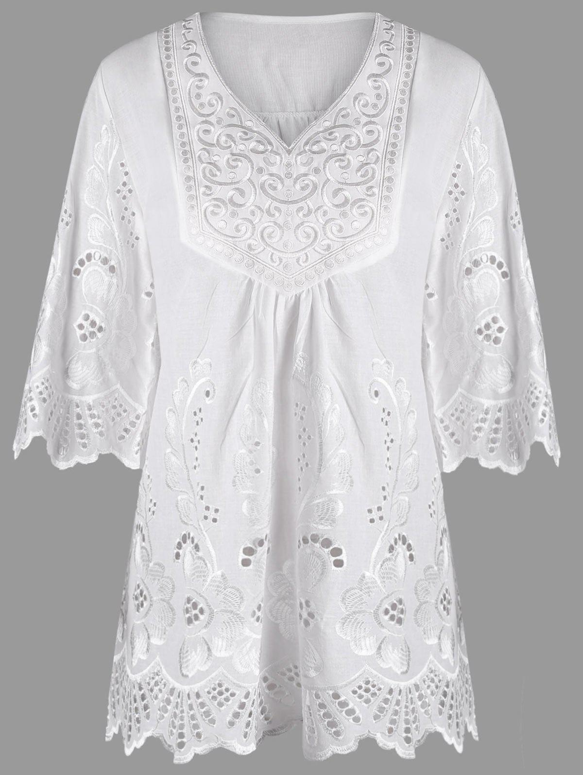 V Neck Embroidered Plus Size Blouse - WHITE 4XL